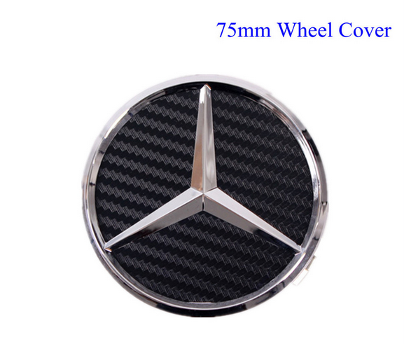 Mercedes wheel center hub caps chrome 75 mm for Mercedes benz wheel cap emblem