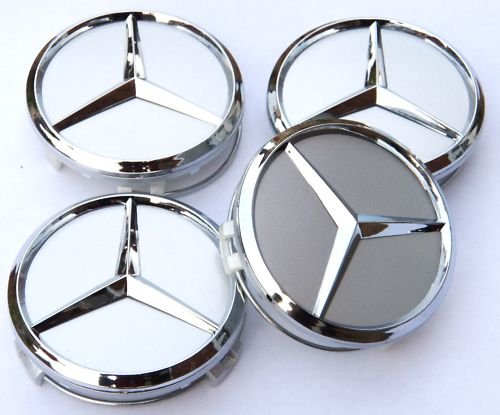 Mercedes wheel center hub caps chrome 75 mm for Center caps for mercedes benz wheels