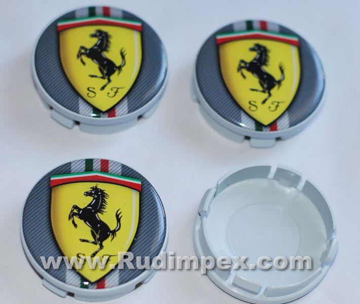 4x55mm/60mm КАПАЧКИ ЗА АЛУМИНИЕВИ ДЖАНТИ FERRARI Spider-Barchetta-Maranello-Enzo Ferrari-Challenge Stradale-Scaglietti-F430-Superamerica-Scuderia-Sessanta-GTB Fiorano-Scuderia Spider 16M-SA APERTA-599 GTO