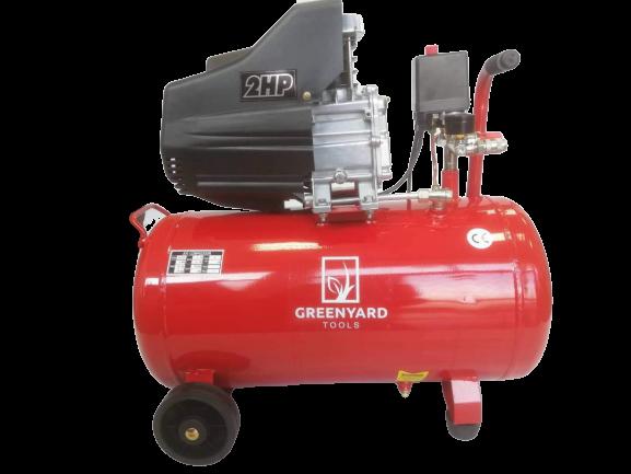 Компресор за въздух GREENYARD GY-AC50  - Резервоар  50 литра - 8 бара - 178 л/мин - 2 глави - мотор с 100% с медни намотки | Rudimpex.com