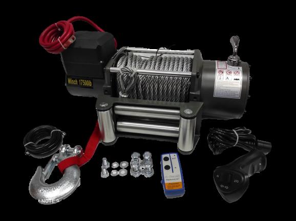 Електрическа лебедка 17500Lbs - 12 V - 17500 Lbs / 7938 кг. - 4.5 kw - 6 к.с. - стоманено въже 26 метра / 9.5 мм - 4x4 - Off-road -  Гаранция | Rudimpex.com