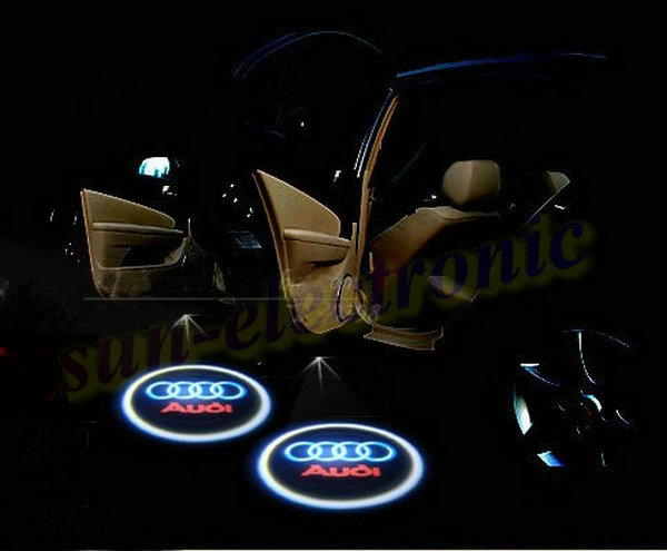 audi logo led door lights audi a3 a4 a5 a6 a8 s3 s4 s5 s6. Black Bedroom Furniture Sets. Home Design Ideas