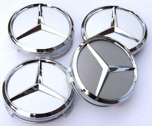 Mercedes wheel center hub caps chrome 75 mm for Mercedes benz wheel caps