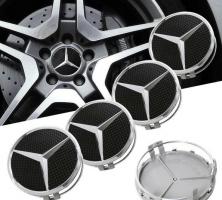 КАПАЧКИ ЗА ДЖАНТИ ХРОМ MERCEDES AMG BLACK комплект от 4 БР - 75мм / A, B, C, E, S, M, ML, GL, R, SL, SLK, CL, CLK /алуминиеви джанти център гуми капачки  емблеми за коли / автомобили