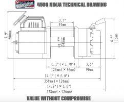 Електрическа лебедка  WARRIOR NINJA - 12V - 2041kg/ 4500 LBS - за малки джипове до 2 тона - английска  - 2 години гаранция | Rudimpex.com