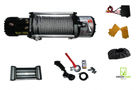 Eлектрическа лебедка за джип и пътна помощ 12 V - 13500 Lbs / 6136 кг. - 4.5 kw - 6 к.с. - стоманено въже 26 метра / 9.5 мм - безжично дистанционно + защитен водоустойчив протектор и ръкавици 1 година гаранция | Rudimpex