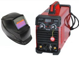 Инверторен електрожен TIG250 за безгазово ММА и газово TIG заваряване  с Аргон  - TIG 250А  - MMA 200А - IGBT - ARC - 250A - СОЛАРНА МАСКА-горещ старт - реални ампери - аксесоари - високо качество - 1 година гаранция   Rudimpex.com